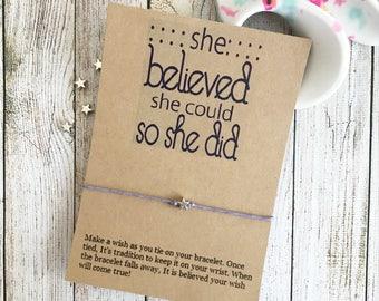 She Believed She Could, She Believed Bracelet, Inspiration Bracelet, Wish Bracelet, Motivation Bracelet, Inspirational Gift
