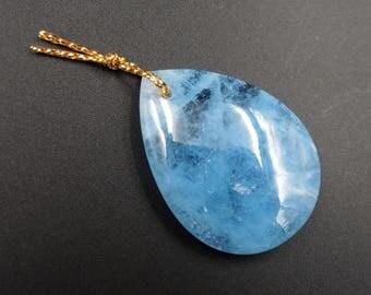 Natural Blue Aquamarine Pendant Drilled Teardrop Pendant P496
