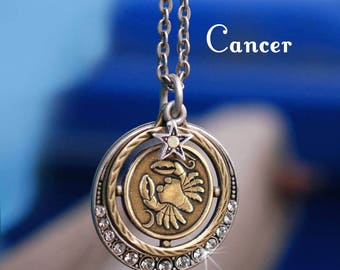 Cancer Necklace, Zodiac Jewelry, Cancer Jewelry, Zodiac Pendant, Astrology Jewelry, July Birthday Necklace, June Birthday Gift N1244-CN