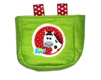 Cute handlebar bag in green appliquéd horse