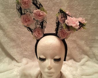Black Lace Bunny Ears with Pink Flowers. Burlesque Cabaret Vintage Shabby Chic Boho Costume Accessory
