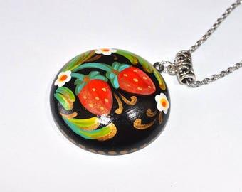 jewelry necklace black red Pendant kawaii garden jewelry woodland Jewelry Multicolor flower necklace holiday gift boho Jewelry birthday gift