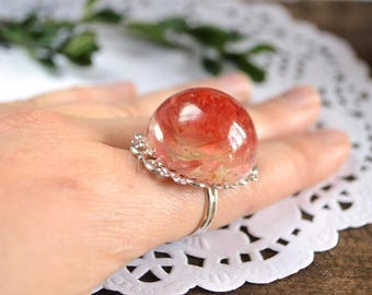 flower ring resin ring delicate ring statement ring woodland ring red jewelry red ring terrarium ring natural jewelry nature ring floral art