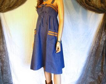 Vintage 1970s Denim Dress Jumper Faux Leather Trim Patch Pockets Festival Dress