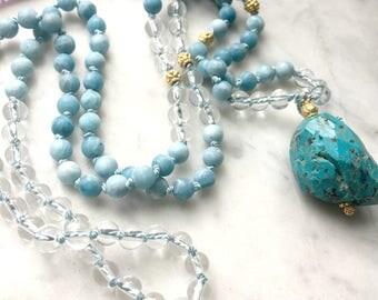 Larimar Mala // Knotted Larimar Mala // Gemstone Crystal Mala // Gemstone Japa Mala // Meditation Mala // Larimar Prayer Beads/108 Bead Mala