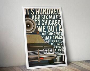 Blues Brothers poster Bluesmobile poster alternative poster 80s movie poster Dodge Monaco poster Dan Aykroyd John Belushi Car poster police