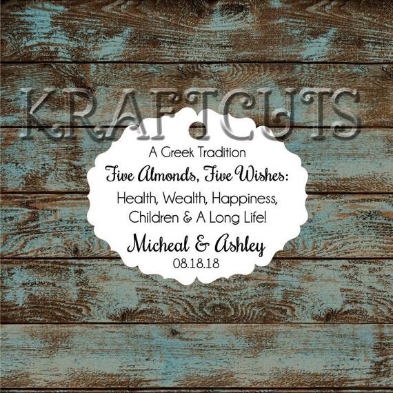 Greek Wedding Favor Tags, Jordan Almond Favor Tags, Sugared Almond Favor Tags, Five Wishes Poem Favor Tags #657 Qty: 30 Tags