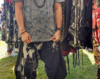 Sakura Crane (yinyang BLACK) Waist-Tied Samurai pants