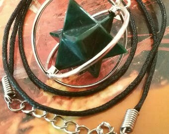 Spinning BLOODSTONE CRYSTAL MERKABA Star Pendant, In Stainless Cage with Hemp Chain,  Blood Stone Sacred Geometry