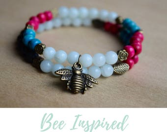 Amazonite Bracelet / balance bracelet, nature inspired, save the bees, women insect jewelry, bee charm bracelet, honey bee jewellery