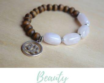 Lotus Yoga Bracelet / rose quartz bracelet, blooming lotus yoga jewelry, zen lotus jewelry, silver lotus jewelry, blooming lotus charm