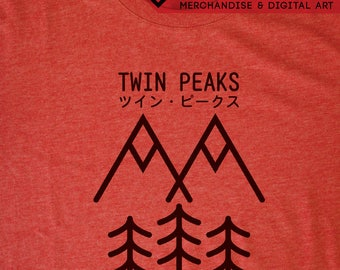 Twin Peaks Japanese T-Shirt - David Lynch Inspired by Minimalist Japanese Graphic Design Tee by Rev-Level