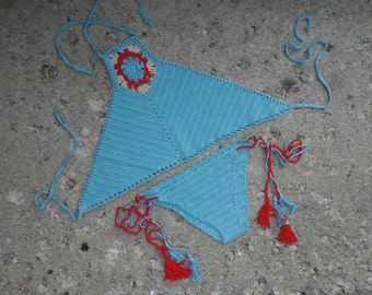 Crochet Bikini Set With Tassel Tie,High Neck Halter Bikini set,Tassel Bikini set,crochet halter top,2017 Summer Trends,Crochet Swimwear