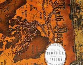 First my Mother forever my Friend Cabochon necklace - handmade pendant with chain (FREE S&H)