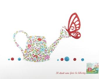 Appliqués thermocollants Arrosoir Papillon printemps tissu liberty Katie Millie multicolore flex pailleté patch à repasser applique liberty