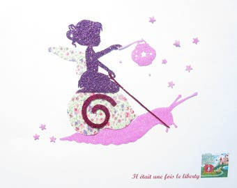 Applied fusing fairy on snail in liberty Phoebe purple and pink. iron on fusing en tissu liberty liberty patch