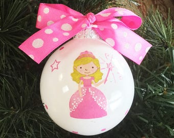 Personalized Hand Painted Princess Christmas Ornament