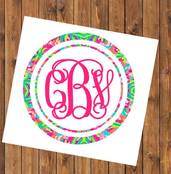 Free Shipping-Monogram Decal, Lilly Pulitzer inspired decal sticker, initial and name, Personalized,Cooler,Yeti, Laptop,Monogram Sticker