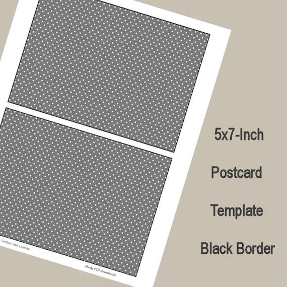 5x7 postcard template black border digital download from. Black Bedroom Furniture Sets. Home Design Ideas