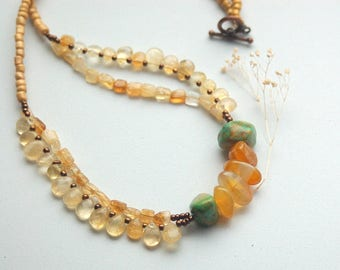 Green Turquoise, Gold, Glass beads, Stone Beads, Beaded Necklace, Layered Necklace