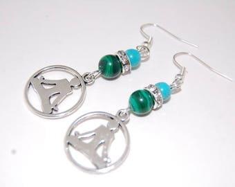 Yoga Earrings,Malachite Beads Earrings,Beaded Earrings,Drop Earrings,Dangle Earings,Boho Jewelry,Gift For Her,Womens Earrings,Girls,Yoga
