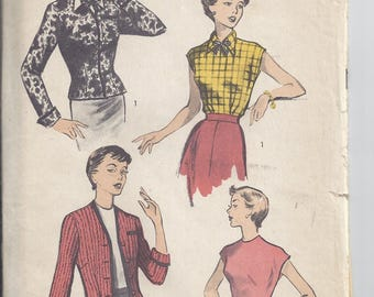 Vintage Advance Sewing Pattern # 5622 from 1950. Blouse and Cardigan.  Bust 29