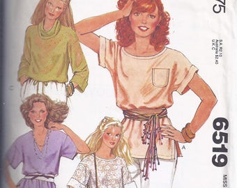 McCalls Pattern # 6519 from 1979 Misses Set of Tops with Cowl Neckline, V-Neck or Round Neckline  Bust 32 1/2.34