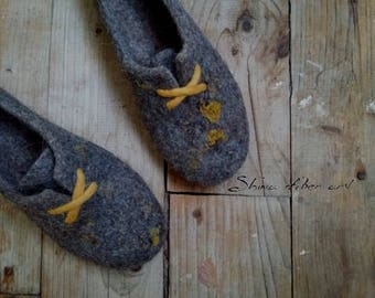 Felted wool slipper boots Womens home shoes Sneakers style Felt oxfords shoes for sport lover  Custom fit