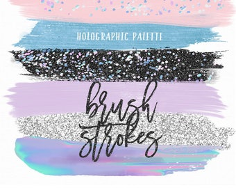 Holographic Brush Strokes Clip Art | Hand Painted Irridescent Glitter Acrylic Graphic Elements | Digital Design Resource