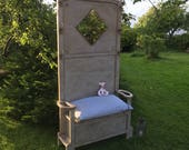 Vintage Grey Hand Painted Mirrored Hall Bench Coat Stand FREE DELIVERY Storage Under Seat Handmade