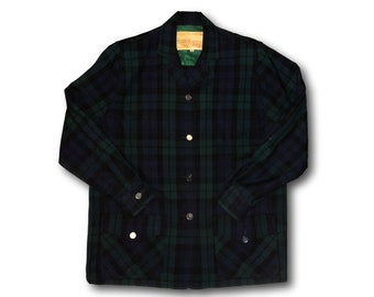 Vintage HUDSON'S BAY COMPANY Green Blue Wool Plaid Button Front Jacket Sz 16