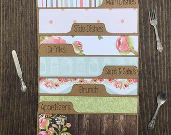 Recipe Dividers 3x5, 4x6, Floral, Coral, Wood, Shabby Chic