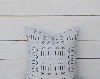 Mud Cloth style pillow cover, mixed pattern #2 shown in 20x20 and available in 16x16, 18x18, 20x20, 16x24 and 16x26.