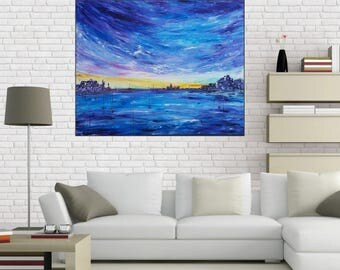 Large blue abstract painting, Modern Art, abstract painting