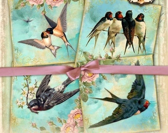 SWALLOWS 4x4 inch Images Printable Collage Sheet for Coasters Greeting cards Magnets Gift tags Iron on transfer - qu465