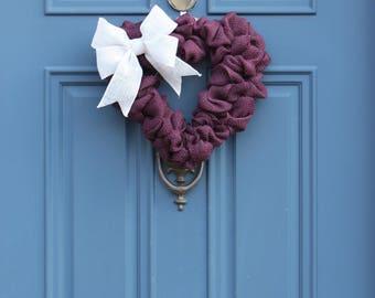 Purple Heart Shaped Wreath , Purple Valentines Wreath , Heart Shaped Burlap Wreath , Valentines Decoration , Eggplant Burlap Wreath , Wreath