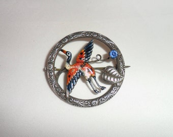 Antique Victorian Sterling Silver Enamel and Paste Heron Brooch