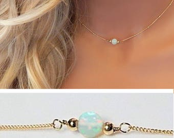 Opal Choker Necklace • Gift for Her • Ethiopian Opal Necklace Gold • Gemstone Necklace • October Birthstone • Real Fire Opal
