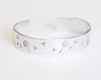 Wish Cuff Bracelet Hand Stamped Aluminum