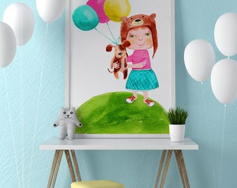 Poster | Illustrated Poster | Wall Decor | Home Decor | Poster Design | Postcard | Baby | Girl | Babyshower | Birthday | Party