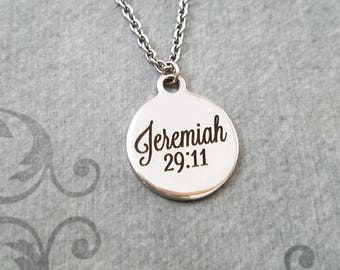 Jeremiah 29:11 Necklace SMALL Engraved Necklace Christian Necklace Christian Jewelry Jeremiah Necklace Bible Necklace Scripture Necklace