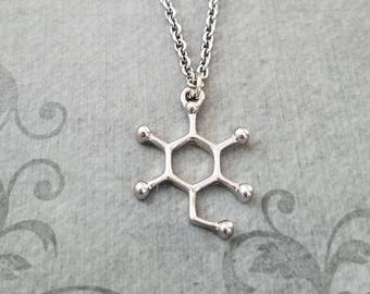 Glucose Molecule Necklace SMALL Glucose Necklace Sugar Molecule Charm Necklace Glucose Jewelry Chemistry Jewelry Science Jewelry Nerd Gift