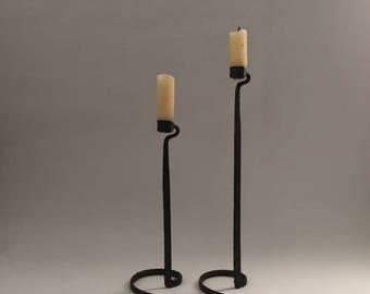 wrought iron brutalist candlesticks, pair vintage handmade modernist candle sticks, minimalist abstract form