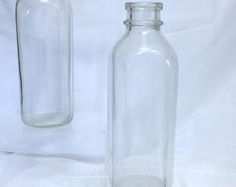 Vintage Glass Milk Bottles, Retro Glass Decor, Tall Glass Jugs for Kitchen Decor Thick Glass Vase Square Glass Canister Jar Unbranded Bottle