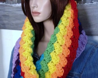 Rainbow Scarf Colorful Cowl Winter Infinity Scarf Hoody Style Statement Scarf Pride Accessory Fun Scarf Handmade & READY TO SHIP