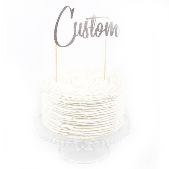 Custom Cake Topper, Cake Topper, Birthday Cake, Baby Shower, Food Decoration Silver Cake Topper, Paper Topper, Customizable, Wedding Cake