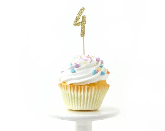 Number 4 Gold Glitter Cupcake Toppers, Number 4 Toothpicks, Gold Party Decor, Food Decoration, Fourth Birthday, 4th Birthday, Four Decor