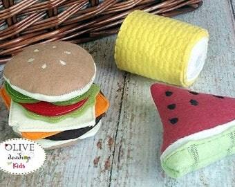 Wool Felt Hamburger, Watermelon, Corn, Pretend Picnic Lunch, Wool  Felt Play Food, Felt Hamburger, Play Food