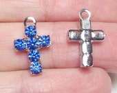 Kreuz blau Strass Kreuz Anhänger, blau religiösen Anhänger, blau Strass, religiöse Kreuz-Anhänger, 16x10mm