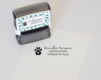 Return Address Stamp, Dog Paw Address Stamp, Self Inking Address Stamp, Dog Return Address Stamp, Personalized Stamper, Gift for Dog Lover